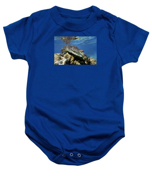 Saltwater Crocodile Smile Baby Onesie by Mike Parry