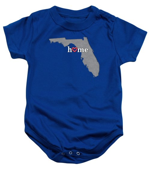 State Map Outline Florida With Heart In Home Baby Onesie by Elaine Plesser