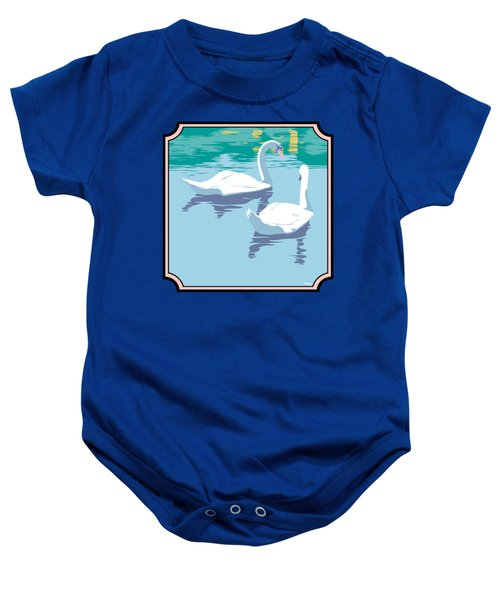 Swans On The Lake And Reflections Absract - Square Format Baby Onesie by Walt Curlee