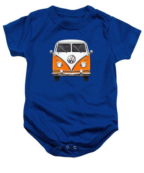 Volkswagen Type - Orange And White Volkswagen T 1 Samba Bus Over Blue Canvas Baby Onesie by Serge Averbukh