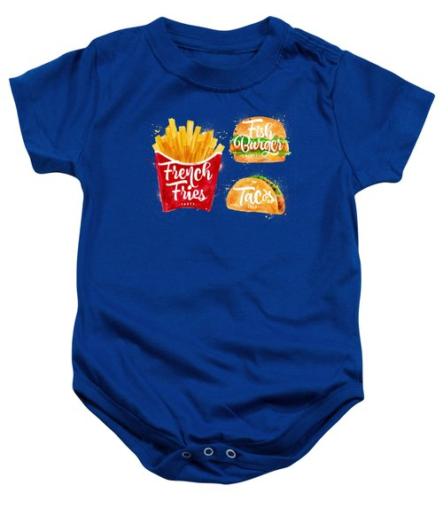 White French Fries Baby Onesie by Aloke Design