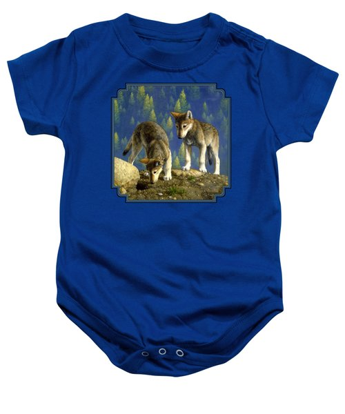 Wolf Pups - Anybody Home Baby Onesie by Crista Forest
