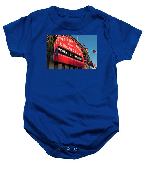 Wrigley Field World Series Marquee Angle Baby Onesie by Steve Gadomski