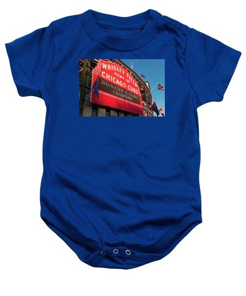 Wrigley Field Marquee Angle Baby Onesie by Steve Gadomski