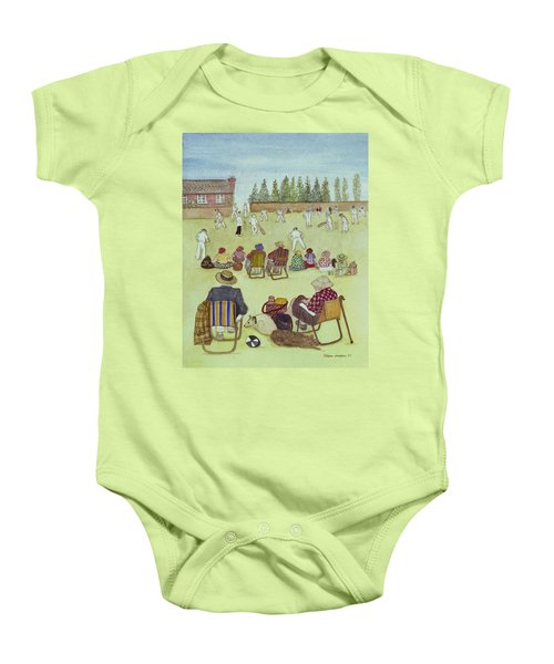 Cricket On The Green, 1987 Watercolour On Paper Baby Onesie by Gillian Lawson