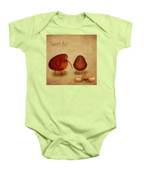 New Arrival. Kiwi Bird - Sweet As - Boy Baby Onesie by Marlene Watson
