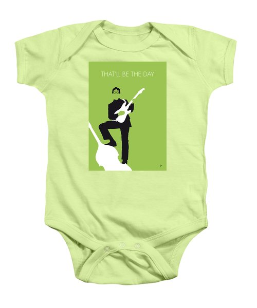 No056 My Buddy Holly Minimal Music Poster Baby Onesie by Chungkong Art