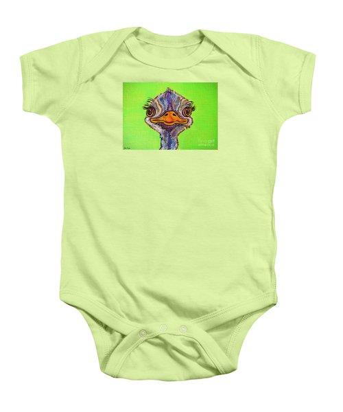 O For Ostrich Baby Onesie by Ella Kaye Dickey