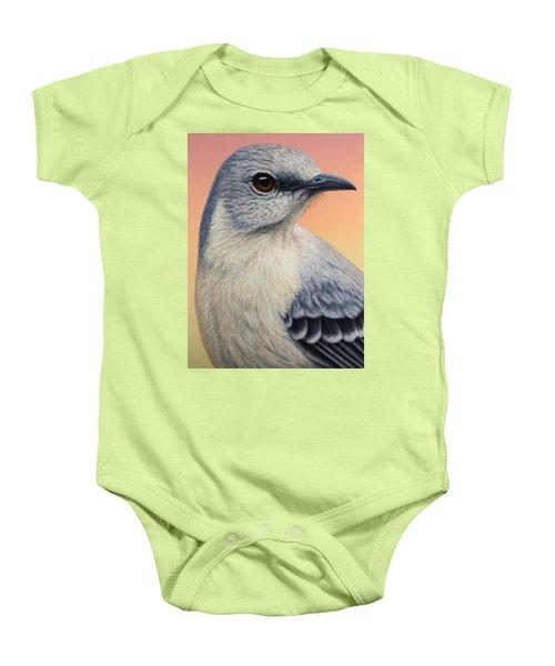 Portrait Of A Mockingbird Baby Onesie by James W Johnson