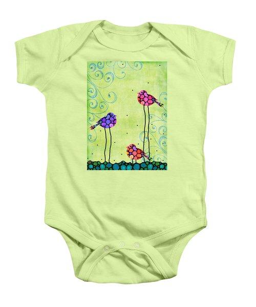 Three Birds - Spring Art By Sharon Cummings Baby Onesie by Sharon Cummings