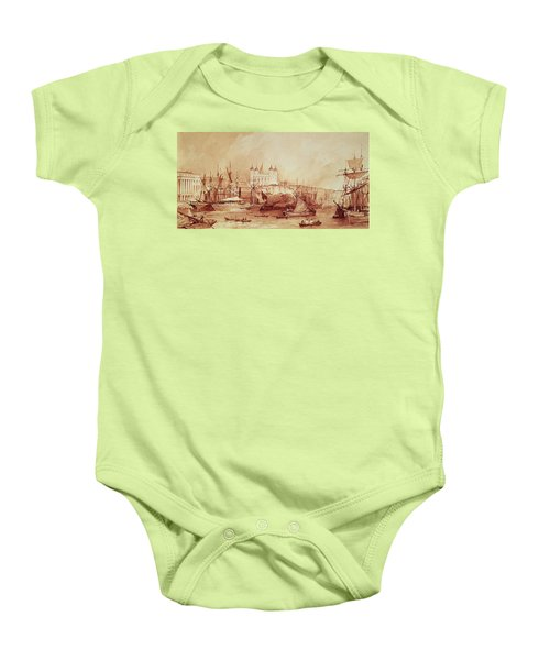 View Of The Tower Of London Baby Onesie by William Parrott