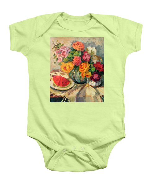 Watermelon And Roses Baby Onesie by Diane McClary
