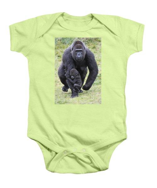 Western Lowland Gorilla Walking Baby Onesie by Duncan Usher