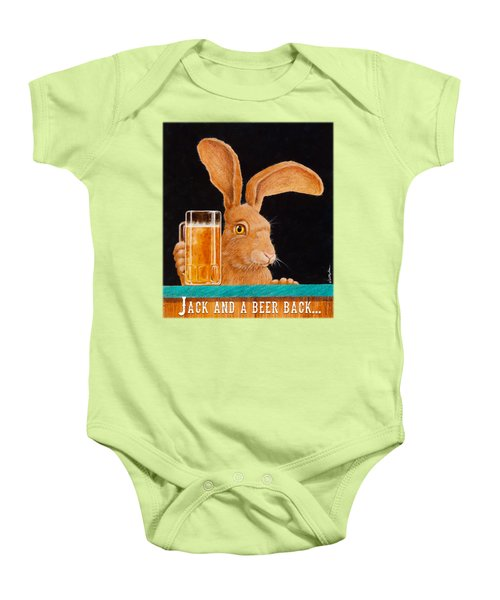 Jack And A Beer Back... Baby Onesie by Will Bullas