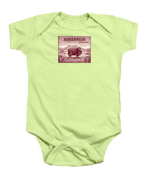 1946 Australian Merino Sheep Stamp Baby Onesie by Historic Image
