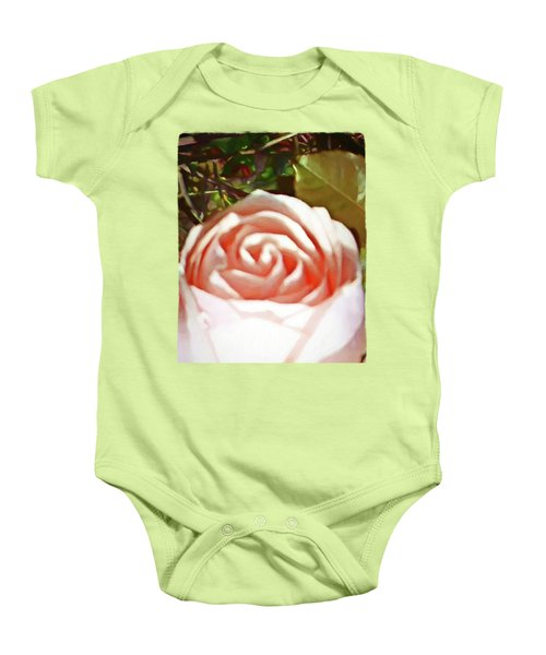 A Pale Pink Rosebud Baby Onesie by Jackie VanO