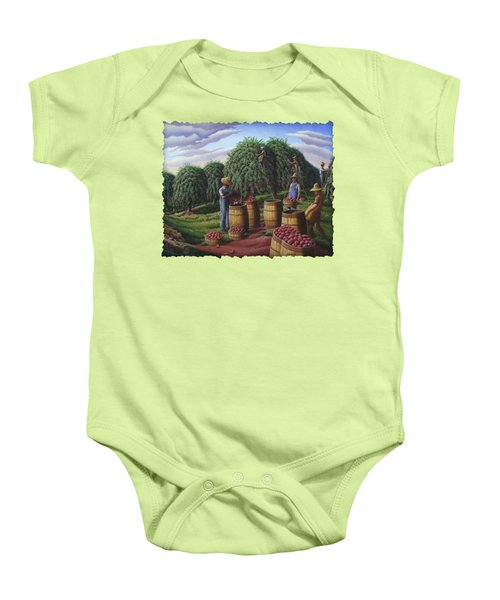 Apple Harvest - Autumn Farmers Orchard Farm Landscape - Folk Art Americana Baby Onesie by Walt Curlee