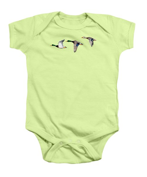 Flying Mallards Baby Onesie by Sarah Batalka