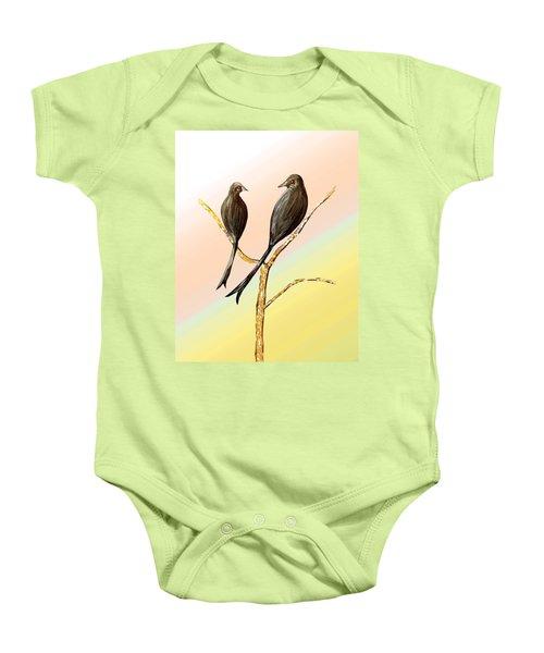 Black Drongos B Baby Onesie by Thecla Correya