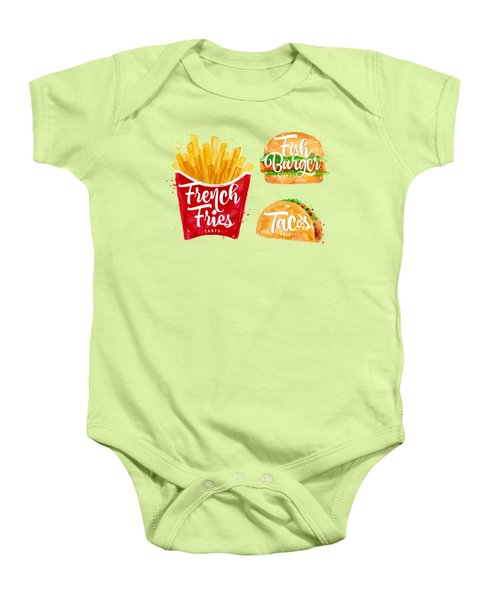 Color French Fries Baby Onesie by Aloke Design