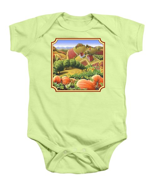 Country Landscape - Appalachian Pumpkin Patch - Country Farm Life - Square Format Baby Onesie by Walt Curlee