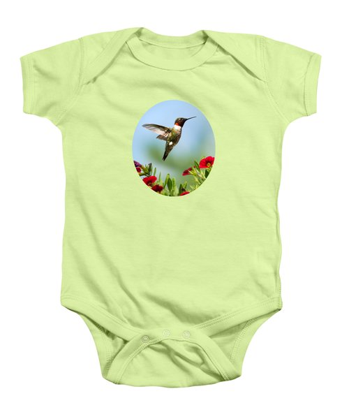 Hummingbird Frolic With Flowers Baby Onesie by Christina Rollo
