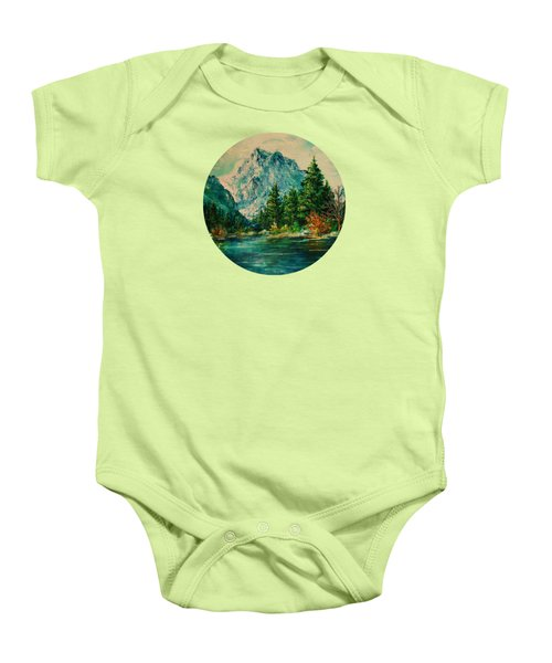 Mountain Lake Baby Onesie by Mary Wolf