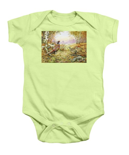 Pheasants In Woodland Baby Onesie by Carl Donner