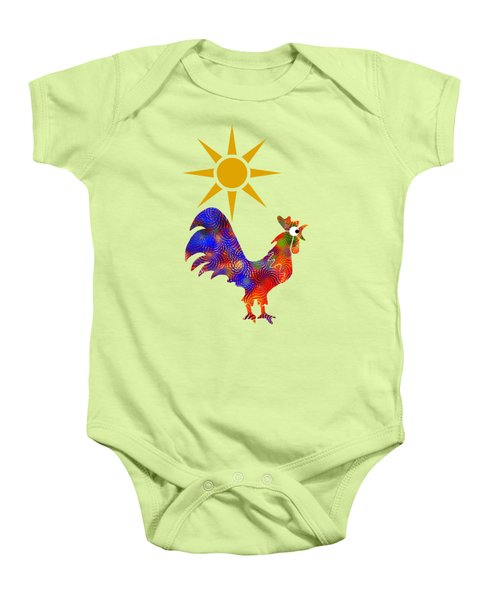 Rooster Pattern Aged Baby Onesie by Christina Rollo