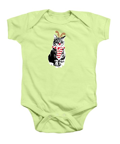 Rudolph The Red Nosed Cat- Art By Linda Woods Baby Onesie by Linda Woods