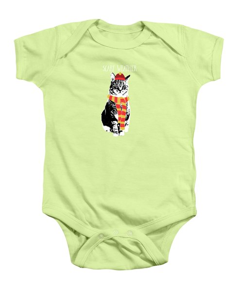 Scarf Weather Cat- Art By Linda Woods Baby Onesie by Linda Woods