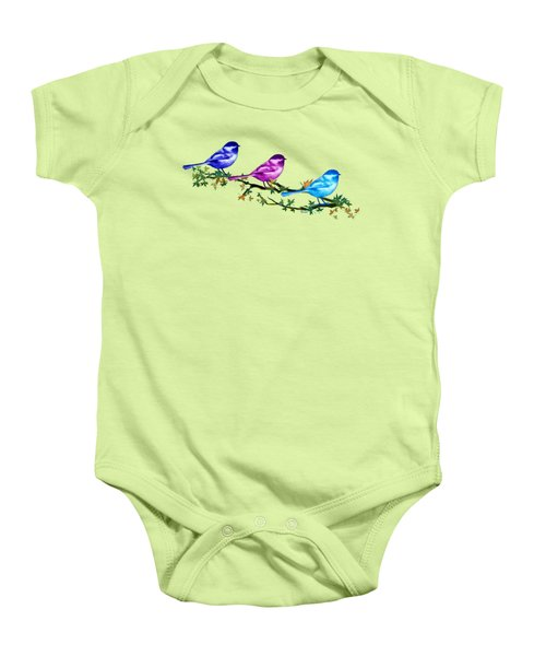 Three Chickadees Baby Onesie by Teresa Ascone