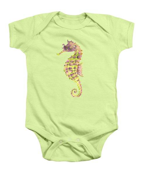 Violet Green Seahorse - Square Baby Onesie by Amy Kirkpatrick