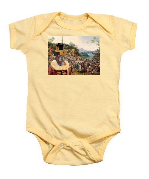 Korthals Pointing Griffon Art Canvas Print Baby Onesie by Sandra Sij