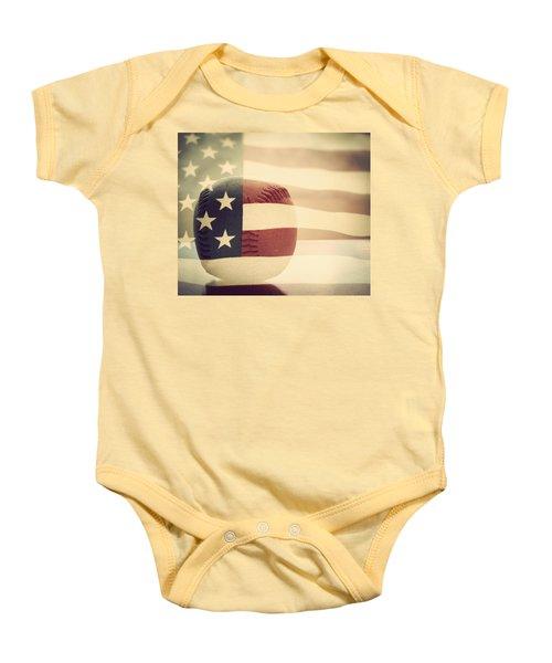 Americana Baseball  Baby Onesie by Terry DeLuco
