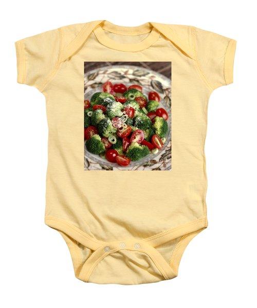 Broccoli And Tomato Salad Baby Onesie by Iris Richardson