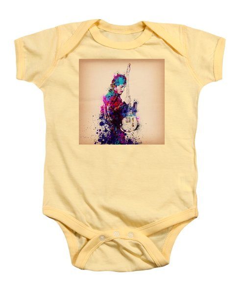 Bruce Springsteen Splats And Guitar Baby Onesie by Bekim Art
