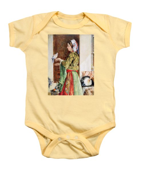 Girl With Two Caged Doves, Cairo, 1864 Baby Onesie by John Frederick Lewis