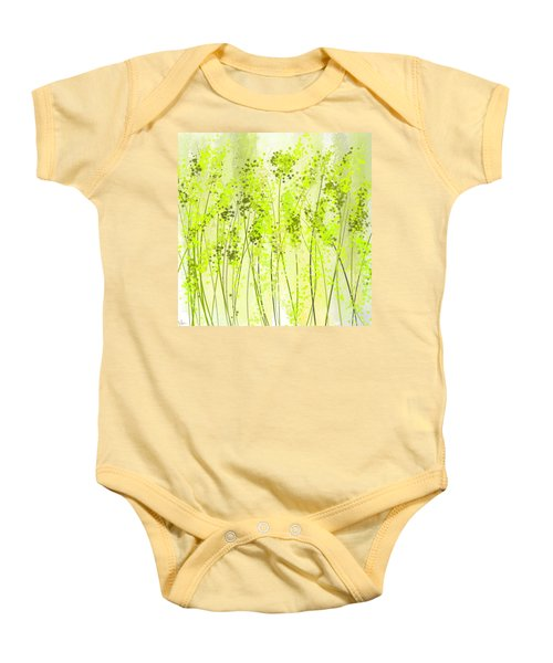 Green Abstract Art Baby Onesie by Lourry Legarde