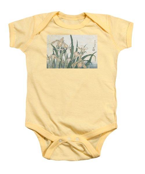 Iris Flowers And Grasshopper Baby Onesie by Hokusai