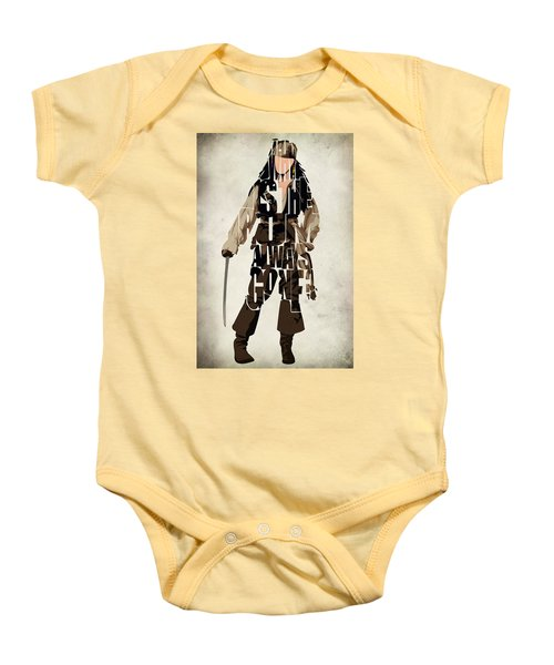 Jack Sparrow Inspired Pirates Of The Caribbean Typographic Poster Baby Onesie by Ayse Deniz