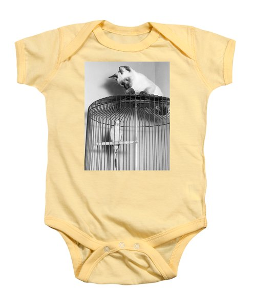 The Parakeet And The Cat Baby Onesie by Underwood Archives