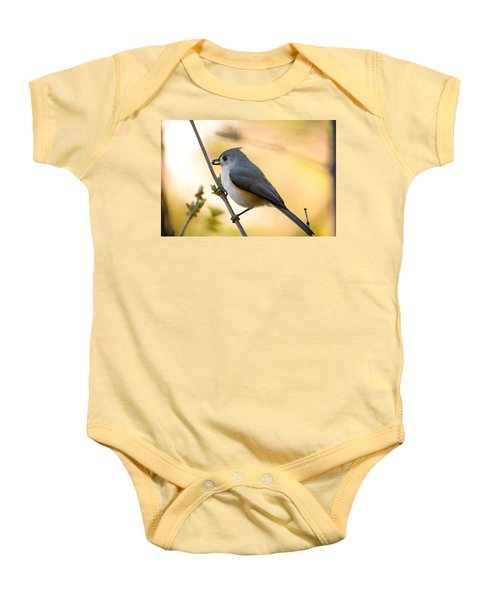 Titmouse In Gold Baby Onesie by Shane Holsclaw