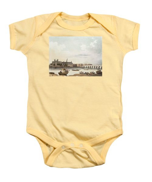 View Of Westminster And The Bridge Wc On Paper Baby Onesie by English School