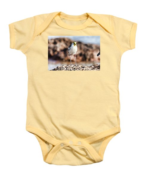 Yellow Mask Baby Onesie by Douglas Barnard