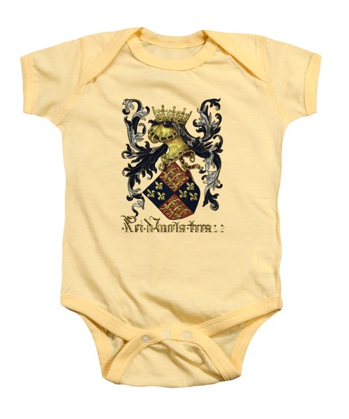 King Of England Coat Of Arms - Livro Do Armeiro-mor Baby Onesie by Serge Averbukh