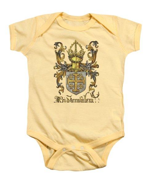 Kingdom Of Jerusalem Coat Of Arms - Livro Do Armeiro-mor Baby Onesie by Serge Averbukh