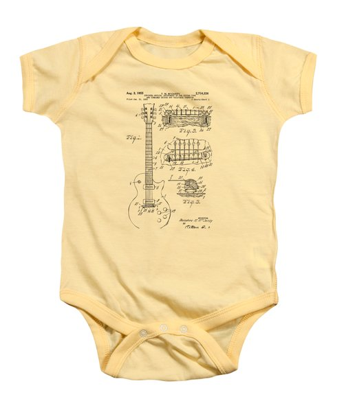 1955 Mccarty Gibson Les Paul Guitar Patent Artwork Vintage Baby Onesie by Nikki Marie Smith