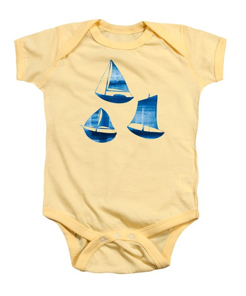 3 Little Blue Sailing Boats Baby Onesie by Frank Tschakert