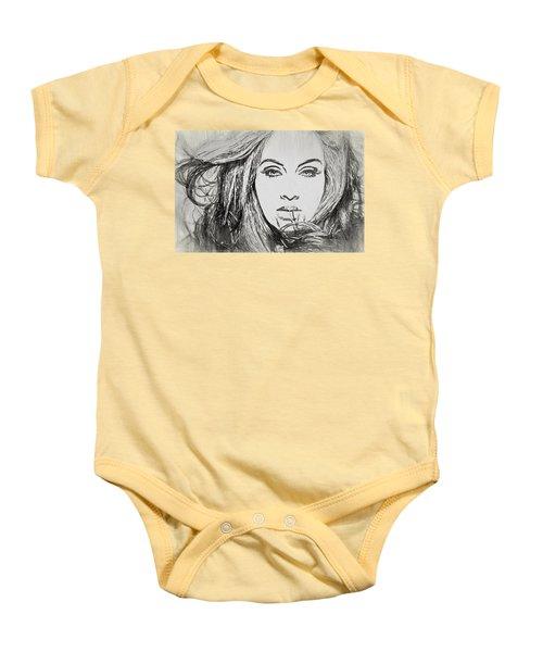 Adele Charcoal Sketch Baby Onesie by Dan Sproul